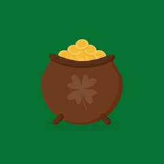 Brown pot full of gold vector illustration, icon. St. Patrick's Day leprechaun's pot of gold isolated on green background.