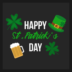 Happy St. Patrick's Day vector greeting card, print. Writing with vector illustrations of four leaf clovers, beer and leprechaun hat on dark grey background.