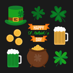 Happy St. Patrick's Day vector icon set. St. Patrick's Day illustrations; four leaf clovers, pot of gold, golden coins, beer, green beer, leprechaun hat and writing decorated with ribbons.