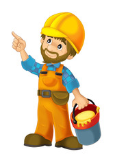 cartoon scene with construction worker on white background - illustration for the children