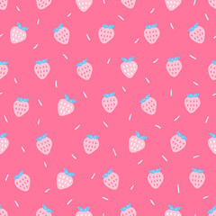 Seamless pattern with strawberries in pastel colors