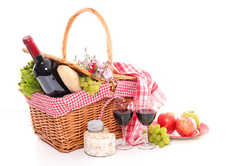wicker basket with picnic