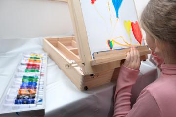 Girl enjoying creative painting