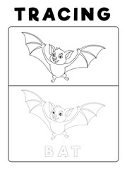 Funny Bat Tracing Book with Example. Preschool worksheet for practicing fine motor skill. Vector Animal Cartoon Illustration for Children.