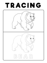Funny Bear Tracing Book with Example. Preschool worksheet for practicing fine motor skill. Vector Animal Cartoon Illustration for Children.