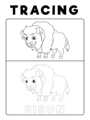 Funny Bison Tracing Book with Example. Preschool worksheet for practicing fine motor skill. Vector Animal Cartoon Illustration for Children.