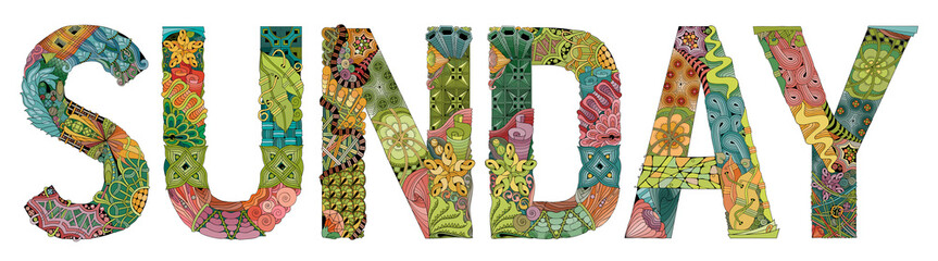 Word SUNDAY. Vector decorative zentangle object