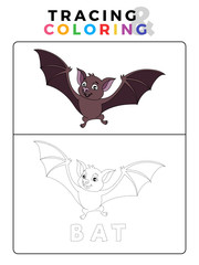 Funny Bat Tracing and Coloring Book with Example. Preschool worksheet for practicing fine motor and colors recognition skill. Vector Animal Cartoon Illustration for Children.