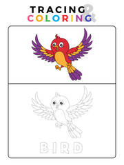 Funny Bird Tracing and Coloring Book with Example. Preschool worksheet for practicing fine motor and colors recognition skill. Vector Animal Cartoon Illustration for Children.