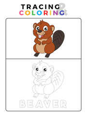 Funny Beaver Tracing and Coloring Book with Example. Preschool worksheet for practicing fine motor and colors recognition skill. Vector Animal Cartoon Illustration for Children.