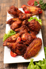 fried barbecue chicken wings and leg