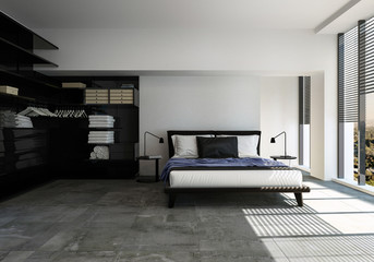 Stylish modern bedroom in black and grey decor