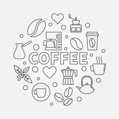 Coffee round illustration. Vector symbol made coffee icons
