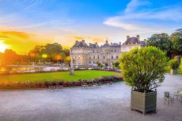 beautiful palace built in classical style at sunset