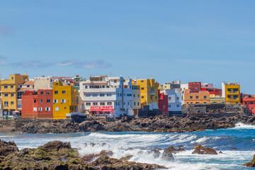 Detail scenic view of colorful houses in Tenerife, Spain. Seaside, Atlantic ocean