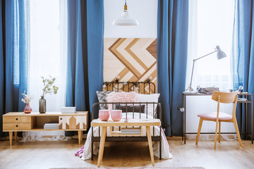Wooden table in kid's bedroom
