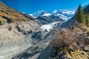 Morteratschgletscher und Bernina-Massiv, Pontresina, Schweiz