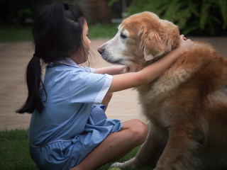 Girl and dog friend forever