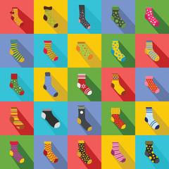 Socks textile icons set. Flat illustration of 25 socks textile vector icons for web