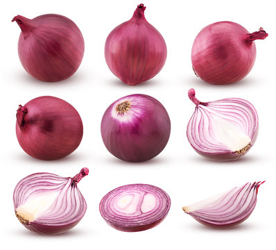 Collection red onion with slices and cut in half