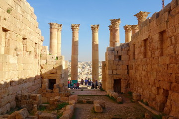 Temple of Artemis in the ancient Roman city of Gerasa, Jerash, Jordan, Middle East.