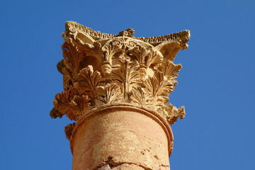 Detail of the column in Temple of Artemis in the ancient Roman city of Gerasa, Jerash, Jordan, Middle East.
