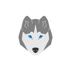 Husky dog icon in flat modern style.