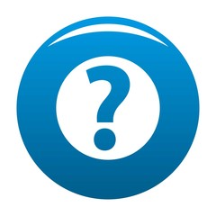 Question mark sign icon vector blue circle isolated on white background