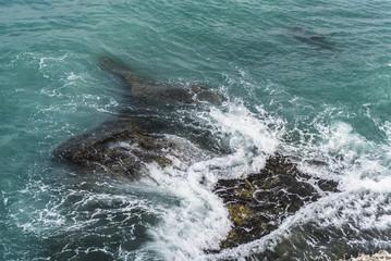 Wave break over a reef