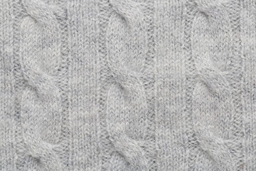 Grey kitted woolen fabric