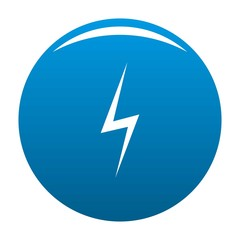 Lightning icon vector blue circle isolated on white background