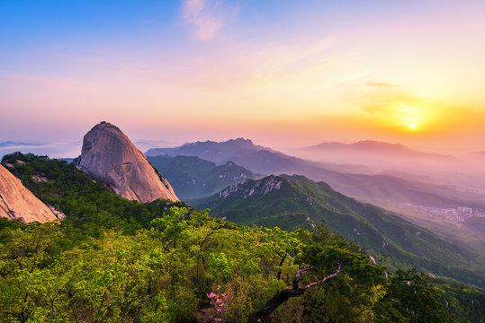 Sunrise of Bukhansan mountain in Seoul City,South Korea
