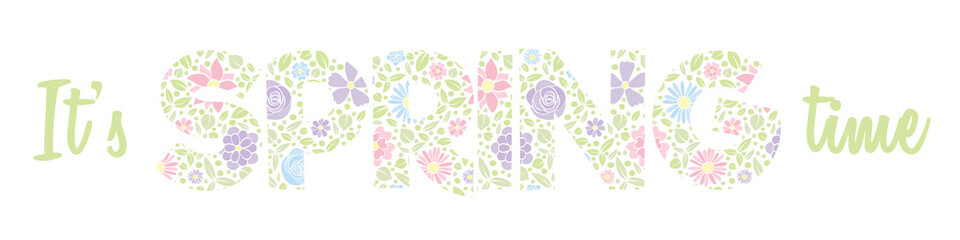 Hello Spring - banner with text made of a hand drawn flowers. Vector.