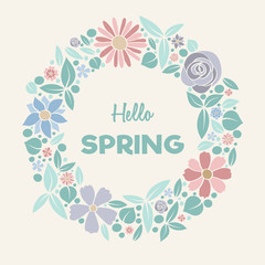 Springtime - pastel coloured poster. Vector.
