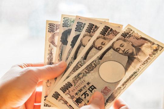 Japan money yen banknotes.
