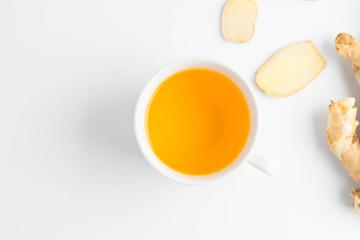 hot ginger tea ginger ale ginger beer in glass