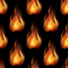 Fire Seamless Background, Tile Pattern, Blazing Orange and Yellow Flames. Eps10, Contains Transparencies. Vector