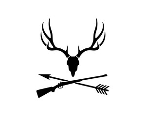 Skull Dear Head with Sniper Gun and Arrow Cross for Hunting Symbol Logo Vector