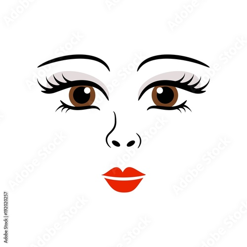 doll girl woman cute face template vector fotolia com の ストック