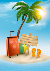 Travel background with tropical island. Summer vacation concept background. Vector.