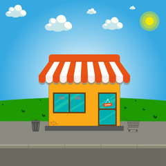 Storefront vector illustration in flat style. Online shop. Store building cartoon facade front viewbehind the green lawn