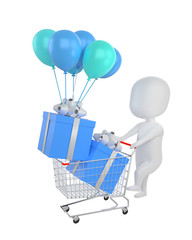 3d rendering of man Shopping Cart blue  giftbox. white person people illustration.