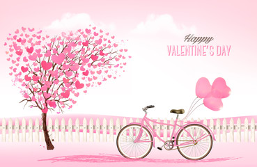 Valentine's Day background with a heart shaped trees and a bicycle. Vector.