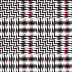 Glen Plaid Vector Pattern in Black, White and Red Overcheck Stripes. Prince of Wales Check. Classic Houndstooth Seamless Textile Print. Traditional Scottish Fabric. Pixel Perfect Tile Swatch Included