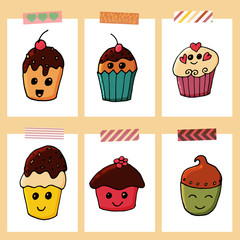 Set of 6 cards withcupcakes in cartoon style