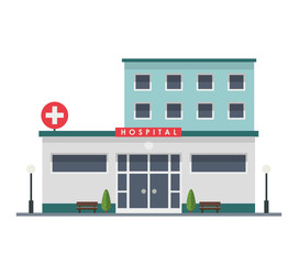 Hospital building - urban architecture, vector illustration in flat style, isolated on white background