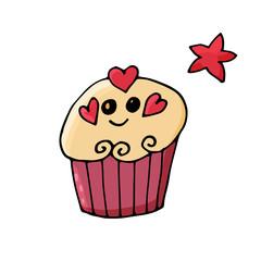 Cupcake in cute cartoon style