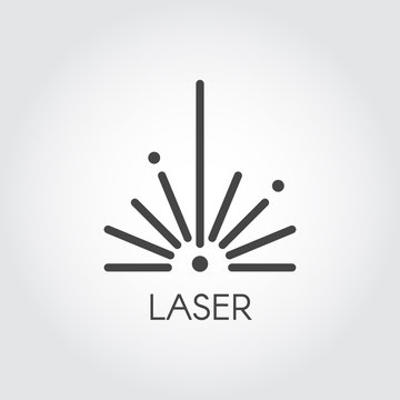 Laser ray half circle icon drawing in outline design. Graphic thin line stroke pictograph. Technology concept contour web sign. Vector illustration of laser cutting series