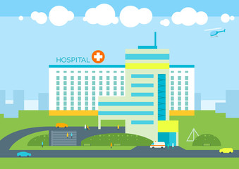 Hospital building, doctors patients clinic, ambulance car and helicopter. City landscape panoramic urban background. Medical health concept flat illustration