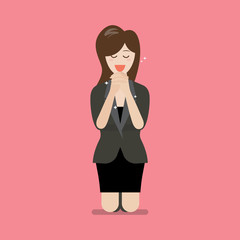 Businesss woman is on her knees and prays to god